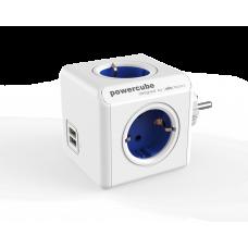 Grenpropp Allocacoc PowerCube 4-vägs 2xUSB Blå