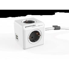 Grenuttag Allocacoc PowerCube 4-vägs 2xUSB 1,5m Grå