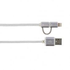 USB-kabel 2in1 USB-A till MicroUSB/Lightning SKross 2.700241 2,4A 1m Silver