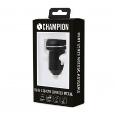 Champion USB Adapter 12/24V Dual 4.8A Metal Black