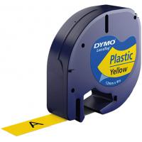 Märkband Dymo LetraTag Plastic Yellow 12mm 4m S0721620