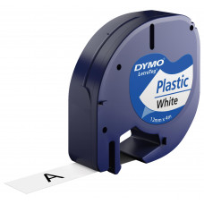 Märkband Dymo LetraTag Plastic White 12mm 4m S0721660