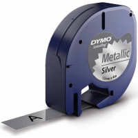 Märkband Dymo LetraTag Metallic Silver 12mm 4m S0721750