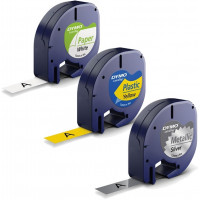 Märkband Dymo LetraTag Paper/Plastic/Metallic 12mm 4m 3-pack S0721800