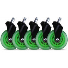 L33T Gaming Casters Universal 5pcs Green