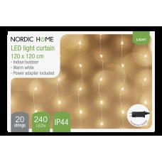 Ljusgardin Nätdriven Inomhus/Utomhus 120x120cm LED Varmvit Nordic Home LGT-122