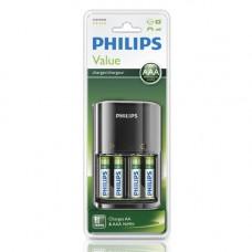 Batteri Laddningsbara AAA 1,2V 800mAh Philips 4-pack + Laddare