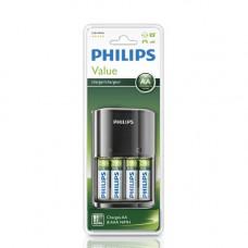 Batteri Laddningsbara AA 1,2V 2100mAh Philips 4-pack + Laddare