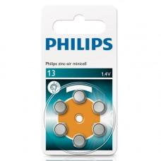 Batteri Knappcell Zinc Air 13 (PR48) 1,4V Philips 6-pack
