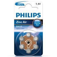 Hörapparatsbatteri Zinc Air 312 (PR41) 1,4V Philips 6-pack