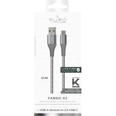 USB-Kabel USB-A till USB-C Puro Fabric K2 CUSBCFABK2SPGREY 1,2m Space Grey