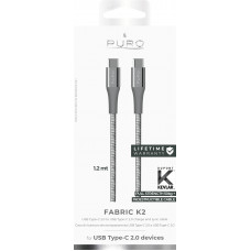 USB-Kabel USB-C till USB-C Puro Fabric K2 CUSBCUSBCFABK2SPGREY 1,2m Space Grey