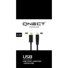 USB-kabel USB-C till MicroUSB Qnect Premium 101011 0,2m Black