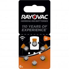 Hörapparatsbatteri Zinc Air 13 (PR48) 1,4V Rayovac 6-pack