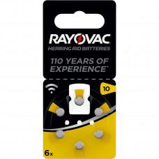 Hörapparatsbatteri Zinc Air 10 (PR70) 1,4V Rayovac 6-pack