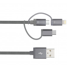 USB-kabel 3in1 USB-A till USB-C/MicroUSB/Lightning SKross 2.700271 1m Space Grey