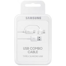 USB-kabel 2in1 USB-A till USB-C/MicroUSB Samsung EP-DG930DWEGWW 1,5m White