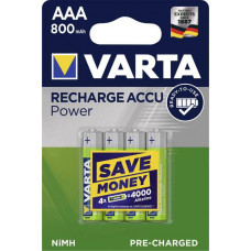 Laddningsbara batterier AAA (HR03) 1,2V 800mAh Varta Power 4-pack