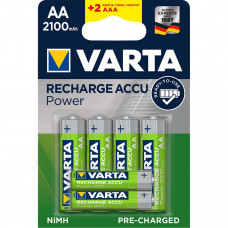 Laddningsbara batterier 4xAA (HR06) 1,2V 2100mAh + 2xAAA (HR03) 1,2V 800mAh Varta Power 56706101496