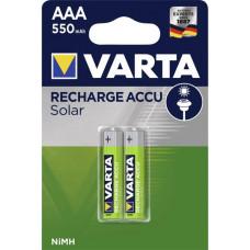 Laddningsbara batterier AAA (HR03) 1,2V 550mAh Varta Solar 2-pack