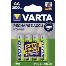 Laddningsbara batterier AA (HR06) 1,2V 2600mAh Varta Power 4-pack