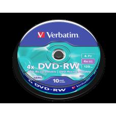 DVD-skiva Verbatim DVD-RW 4,7GB 4x 10-pack Spindle 43552