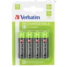 Laddningsbara batterier AA (HR06) 1,2V 2600mAh 4-pack Verbatim 49941