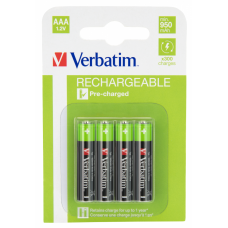 Laddningsbara batterier AAA (HR03) 1,2V 950mAh 4-pack Verbatim 49942